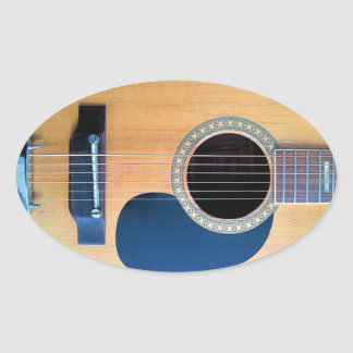 Acoustic Guitar Dreadnought 6 string Oval Sticker