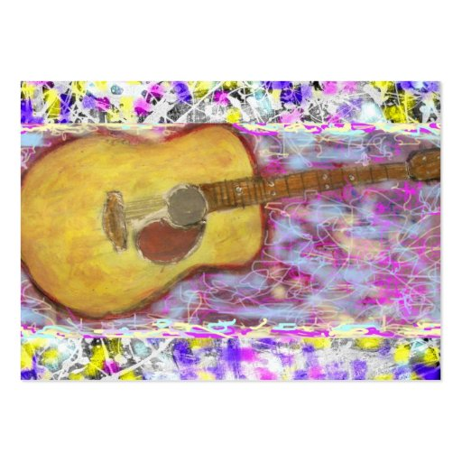 Acoustic Guitar Drip Painting Business Card Template