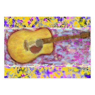 Acoustic Guitar Drip Painting Large Business Cards (Pack Of 100)