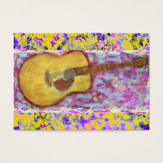 Acoustic Guitar Drip Painting Business Card