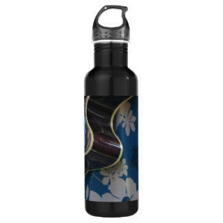 Acoustic Guitar Edge Against Blue Flower Dress Water Bottle