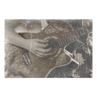 acoustic guitar female hand music grunge sepia poster