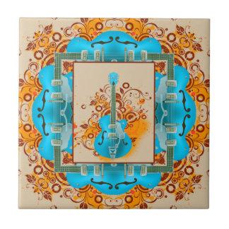 Acoustic Guitar Floral Grunge Vintage Ceramic Tile