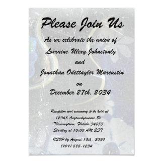 acoustic guitar flower dress grunge scratch music. 5x7 paper invitation card