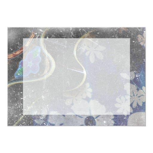 acoustic guitar flower dress grunge scratch music. card