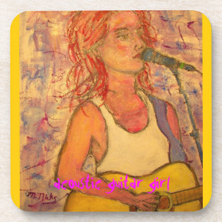acoustic guitar girl art coaster
