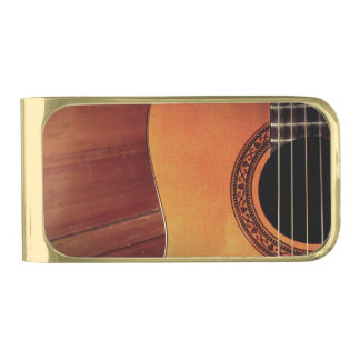 Acoustic Guitar Gold Finish Money Clip