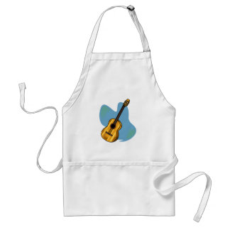 Acoustic Guitar Graphic Blue Behind Adult Apron