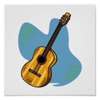 Acoustic Guitar Graphic Blue Behind Poster