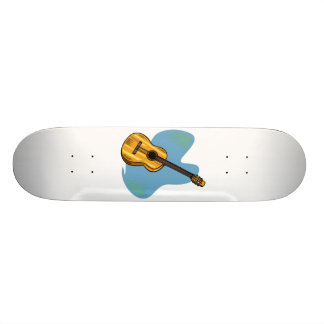 Acoustic Guitar Graphic Blue Behind Skateboard