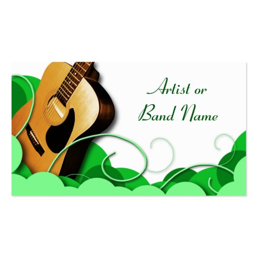 Acoustic Guitar Green Expression Business Cards
