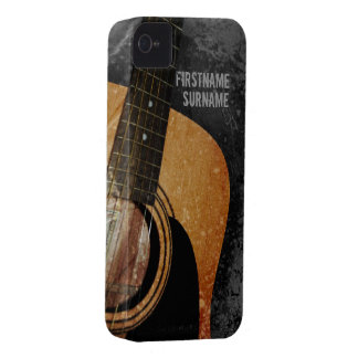Acoustic Guitar Grey Grunge iPhone 4 Case-Mate