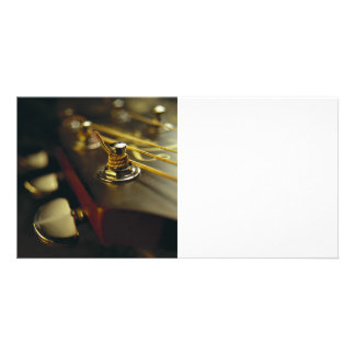 Acoustic Guitar Headstock Close-Up Personalized Photo Card