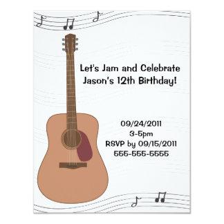 "Acoustic Guitar Illustration Birthday Invitation 4.25"" X 5.5"" Invitation Card"