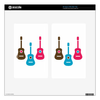 Acoustic guitar is simple colors decal for kindle fire