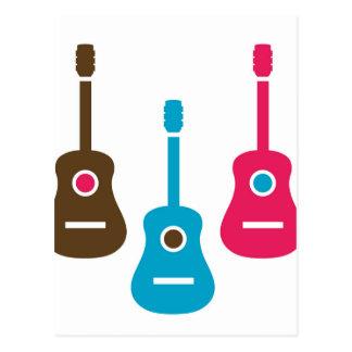 Acoustic guitar is simple colors postcard