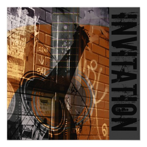 Personalized Acoustic guitar Invitations CustomInvitations4Ucom