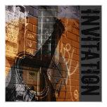 "acoustic guitar jazz jam invitation 5.25"" square invitation card"