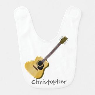 Acoustic Guitar Just Add Name Baby Bib