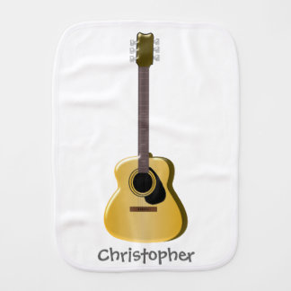 Acoustic Guitar Just Add Name Baby Burp Cloth