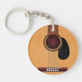 Acoustic Guitar Double-Sided Round Acrylic Keychain