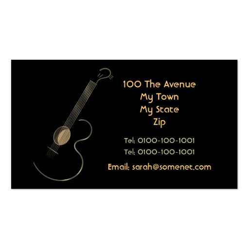Acoustic Guitar Logo Business Card Template (back side)