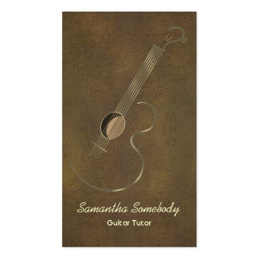 Acoustic Guitar Logo Business Cards
