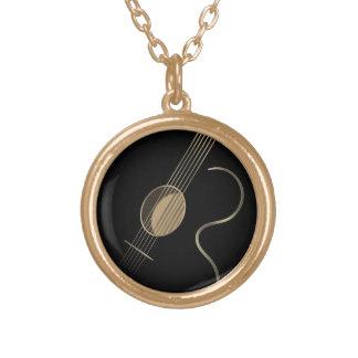 Acoustic Guitar Logo Round Pendant Necklace