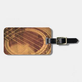 Acoustic guitar macro sepia bag tag