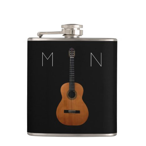 Acoustic Guitar Monogram Black Personalized Flask