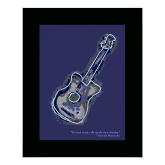 acoustic guitar music art decor posters