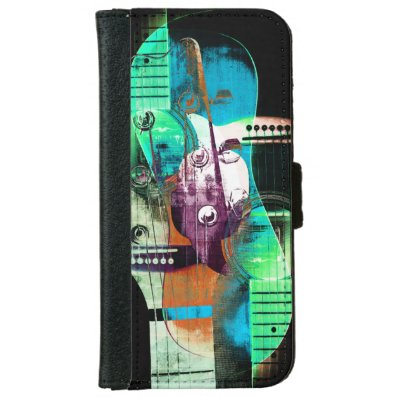 Acoustic guitar music collage wallet phone case for iPhone 6/6S