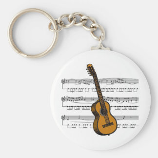Acoustic Guitar musical 07 B Basic Round Button Keychain
