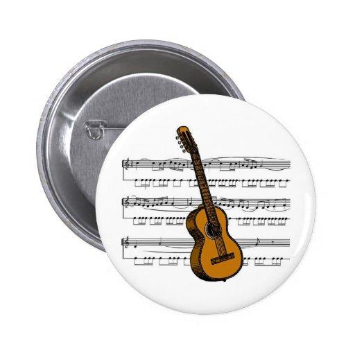 Acoustic Guitar musical 07 B Pinback Button