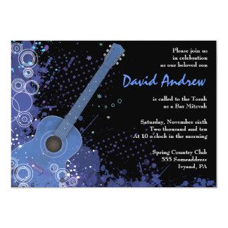 Acoustic Guitar Musical Bar Bat Mitzvah Invitation