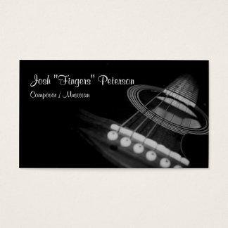Acoustic Guitar Musician BlackWhite Business Card