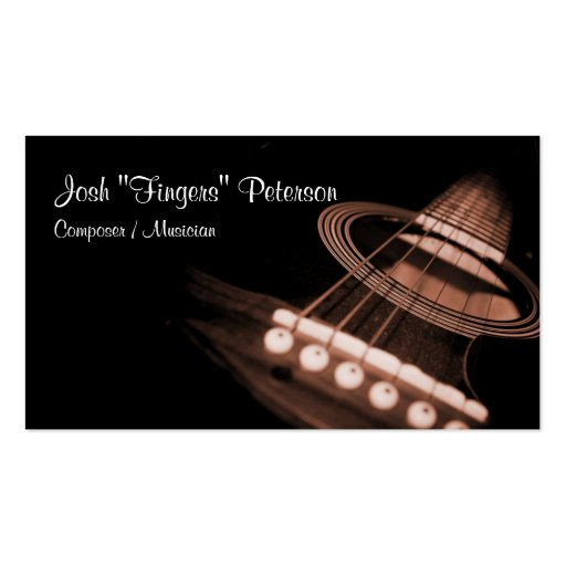 Acoustic Guitar Musician Brown Business Card