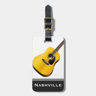 Acoustic Guitar Nashville Word Custom Tag For Luggage