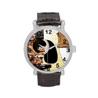 acoustic guitar on brick background wristwatches