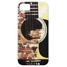 acoustic guitar on brick collage iPhone 5 cover