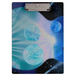 acoustic guitar painting blue pink teal planets clipboard