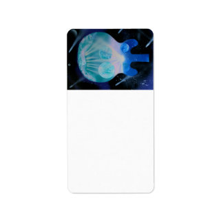 acoustic guitar painting blue pink teal planets personalized address label