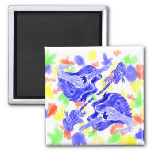 Acoustic guitar painting, blue version musician magnet