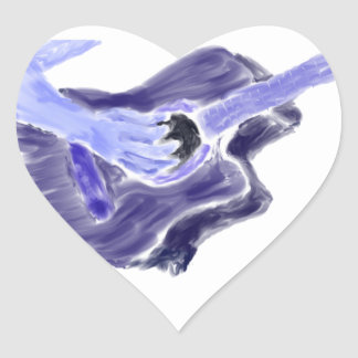 Acoustic guitar painting one arm blue grey heart sticker