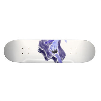 Acoustic guitar painting one arm blue grey skateboard deck