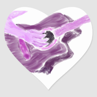 Acoustic guitar painting, one arm, purple version heart sticker