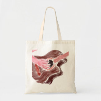 Acoustic guitar painting red version one arm tote bag