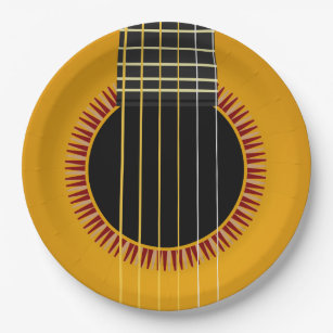 Acoustic Guitar Paper Plate & Acoustic Guitar Plates | Zazzle