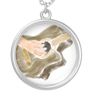 Acoustic guitar player design, hands and guitar round pendant necklace