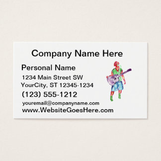 acoustic guitar player female singer musician business card